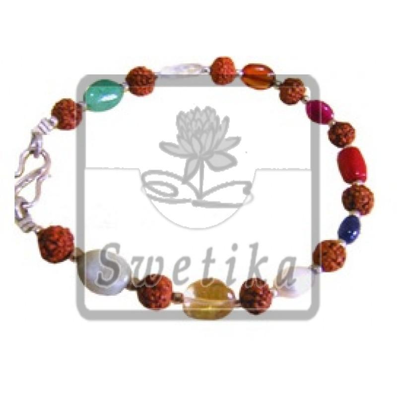 Rudraksha Navrattan Bracelet
